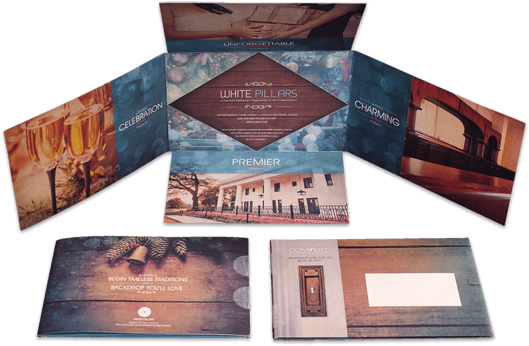 White Pillars Seasonal direct mail cards