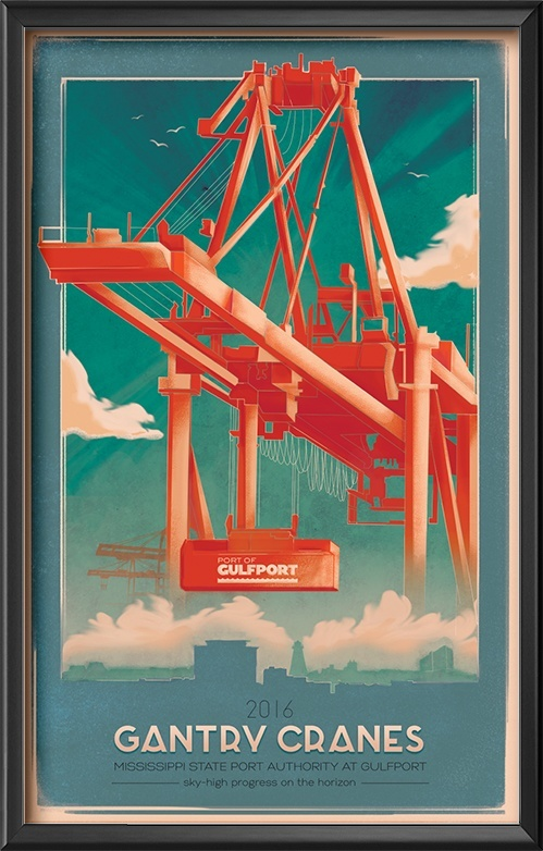Port of Gulfport Gantry Crane Framed Poster