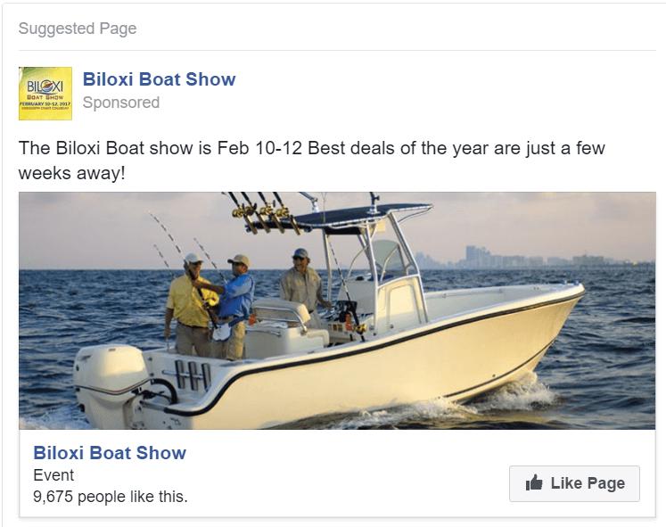 Biloxi Boat Show Facebook Ad