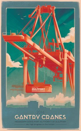 Port of Gulfport Gantry Crane Poster